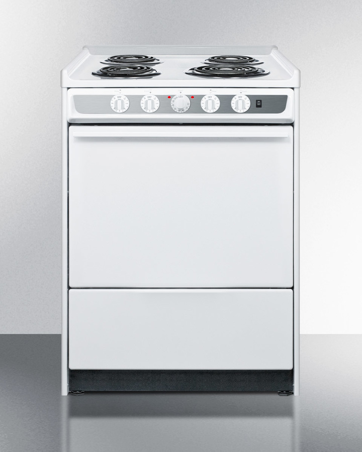 24' wide slide-in electric range in white with lower storage compartment