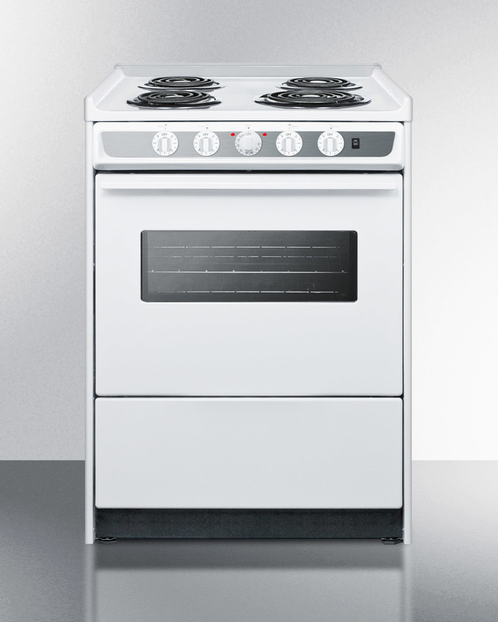 24' wide slide-in electric range in white with oven window, light, and lower storage compartment