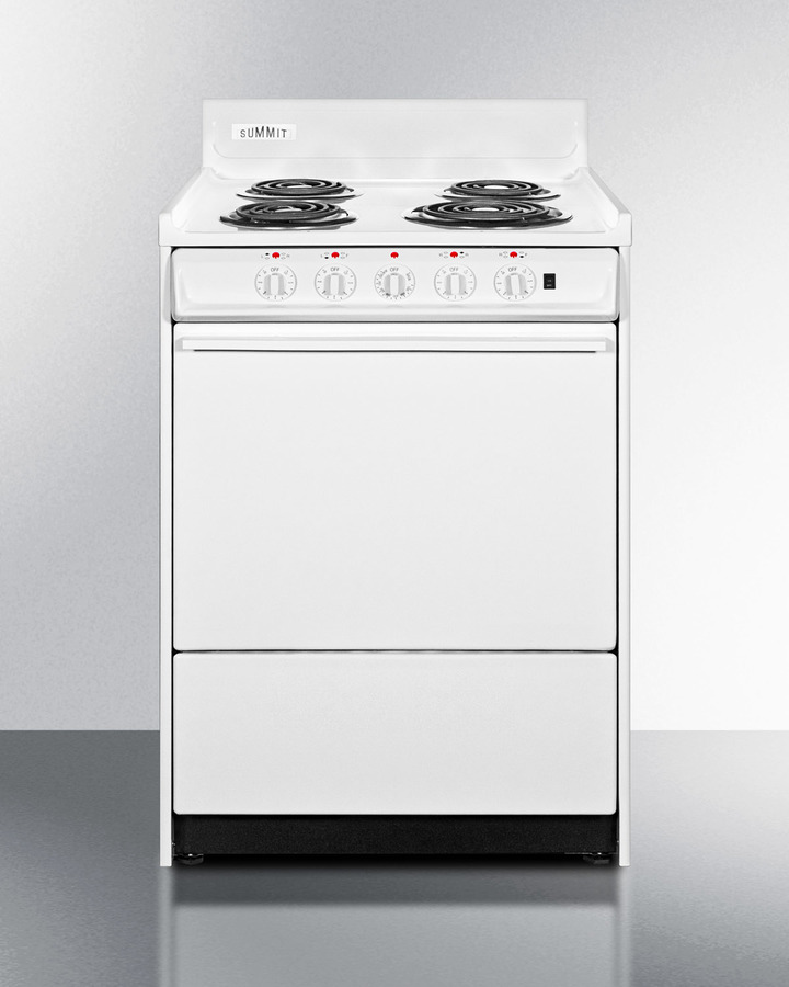 24' wide electric range with indicator lights and a three-prong line cord