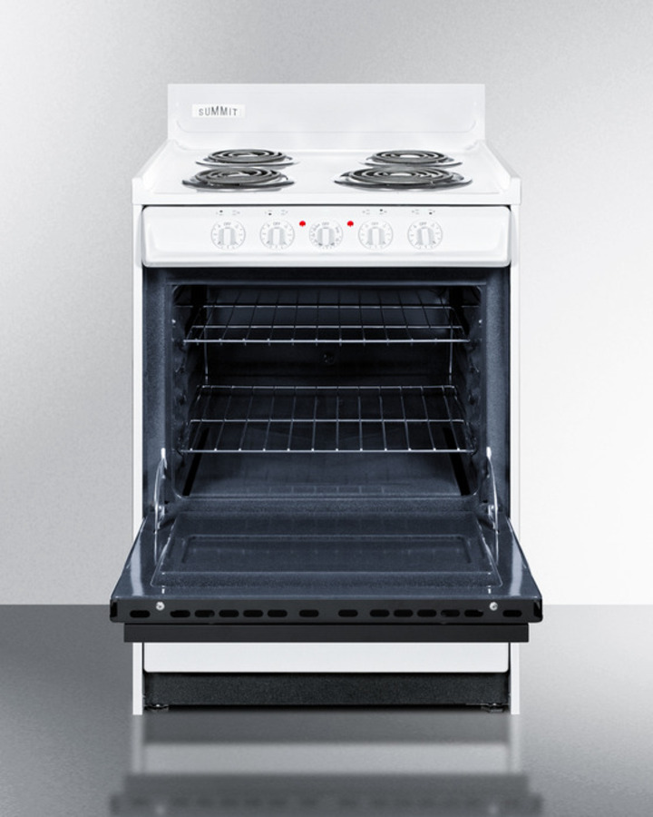 Deluxe 220V electric range in slim 24' width with digital clock/timer, black see-through glass oven
