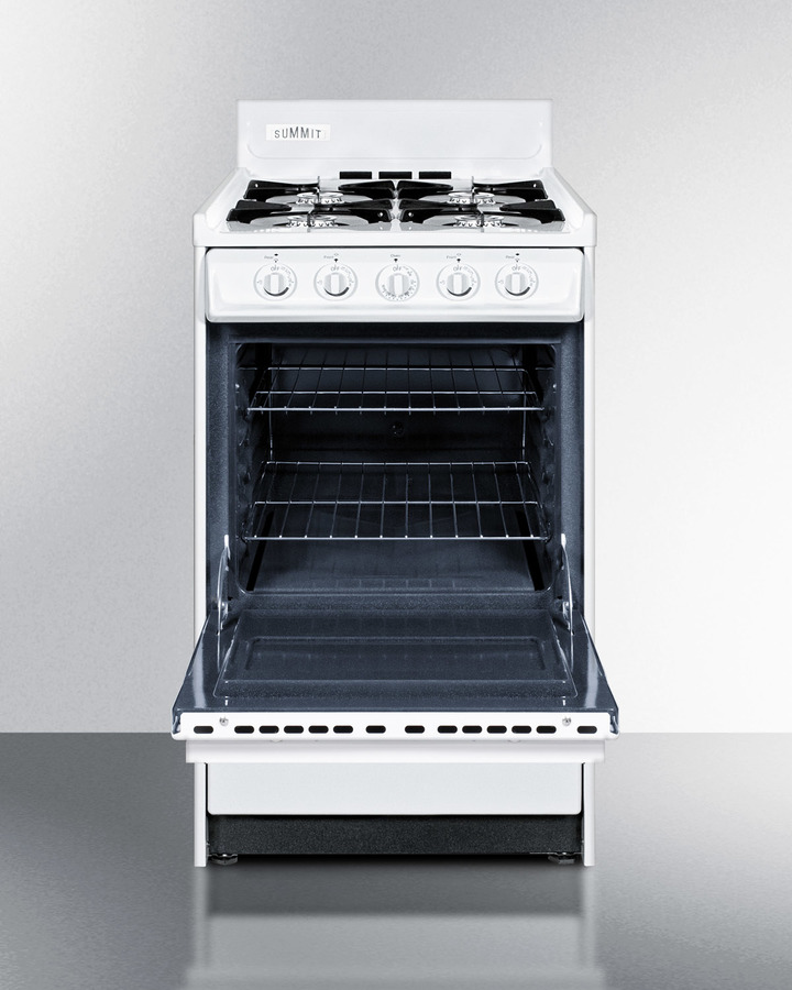 White gas range in slim 20' width with electronic ignition