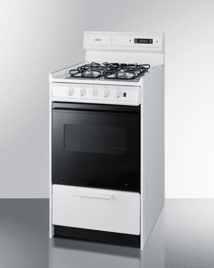 """Summit Deluxe gas range in slim 20"""" width with electronic ignition, digital clock/timer, black glass door"""