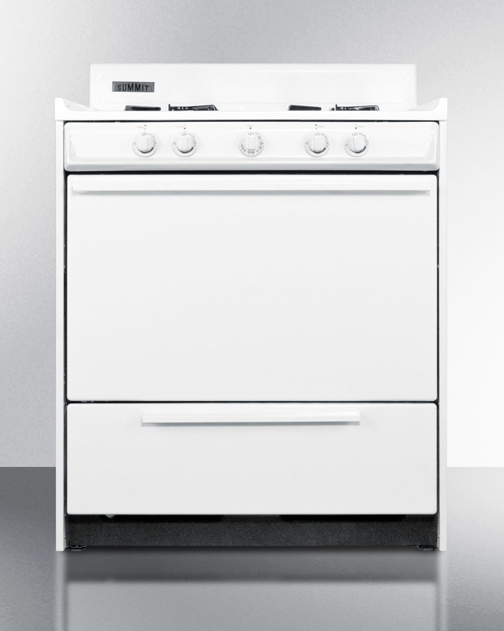 White gas range with electronic ignition in 30' width; replaces WNM2103