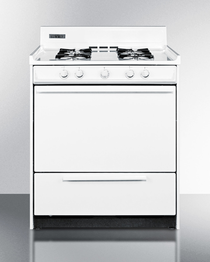 30' wide white gas range with battery start ignition