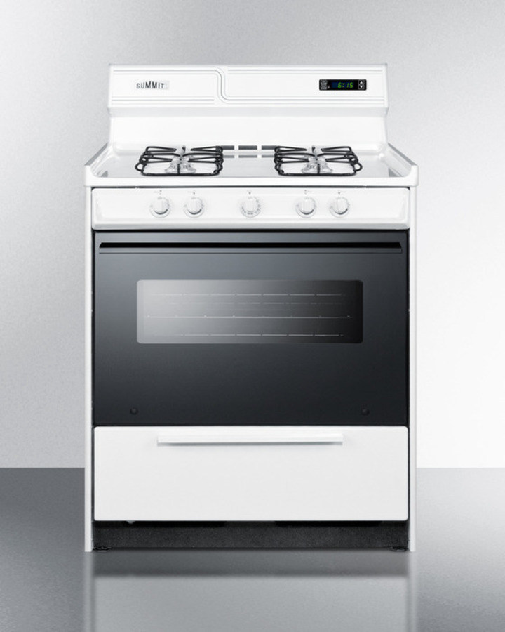 Deluxe gas range in 30' width with sealed burners, electronic ignition, digital clock/timer, black