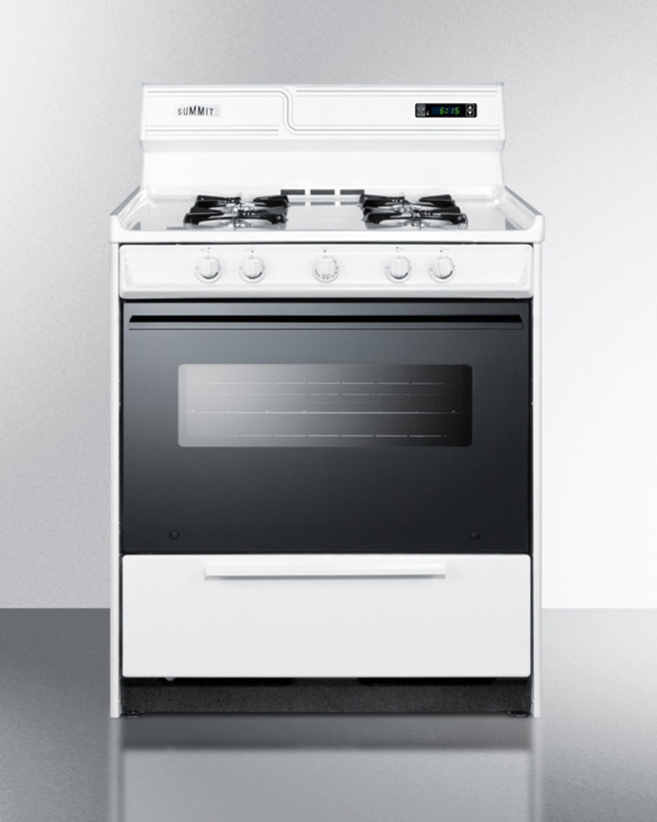 Deluxe gas range in 30' width with electronic ignition, digital clock/timer, black