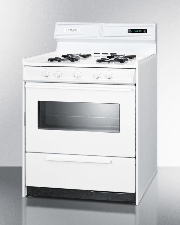 Deluxe gas range in 30' width with electronic ignition, digital clock/timer, and oven door