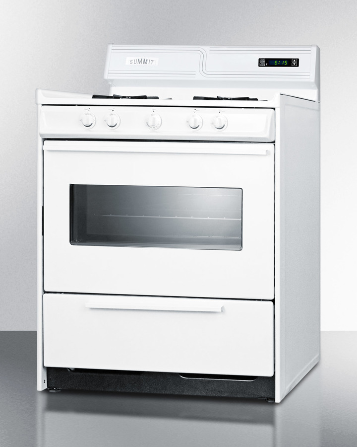 Model: WNM2307KW | Summit Deluxe gas range in 30' width with electronic ignition, digital clock/timer, and oven door