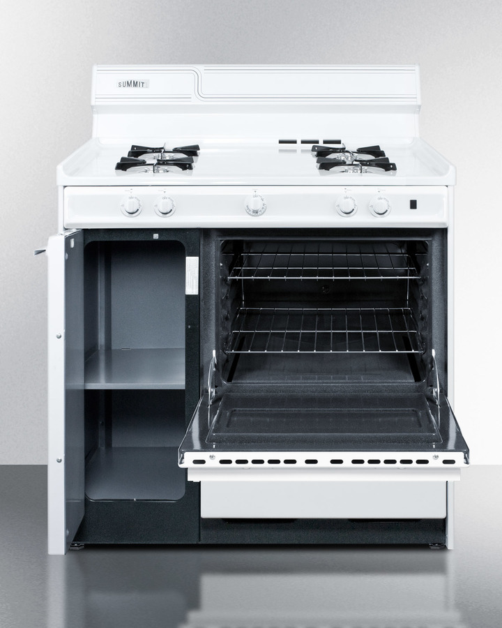 White gas range with electronic ignition in 36' width