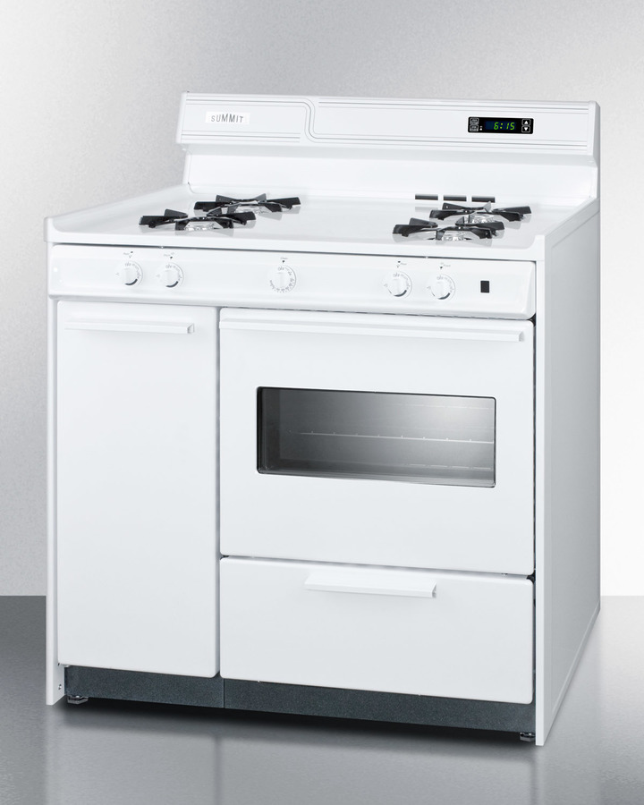 Deluxe white gas range with electronic ignition, clock/timer, and oven window with light in 36'