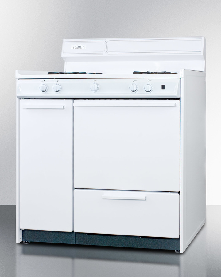 36' wide white gas range with battery start ignition