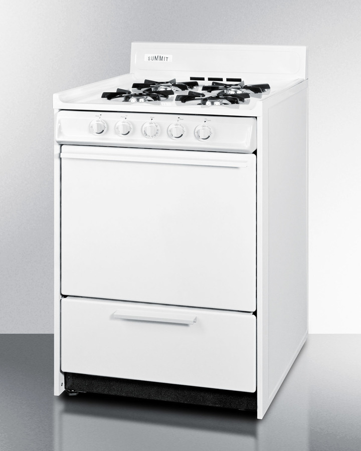 White gas range in slim 24' width with electronic ignition; replaces WTM6107