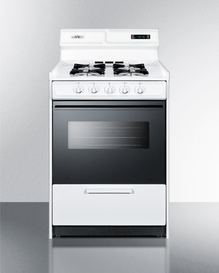 Deluxe gas range in slim 24' width with electronic ignition, digital clock/timer, black