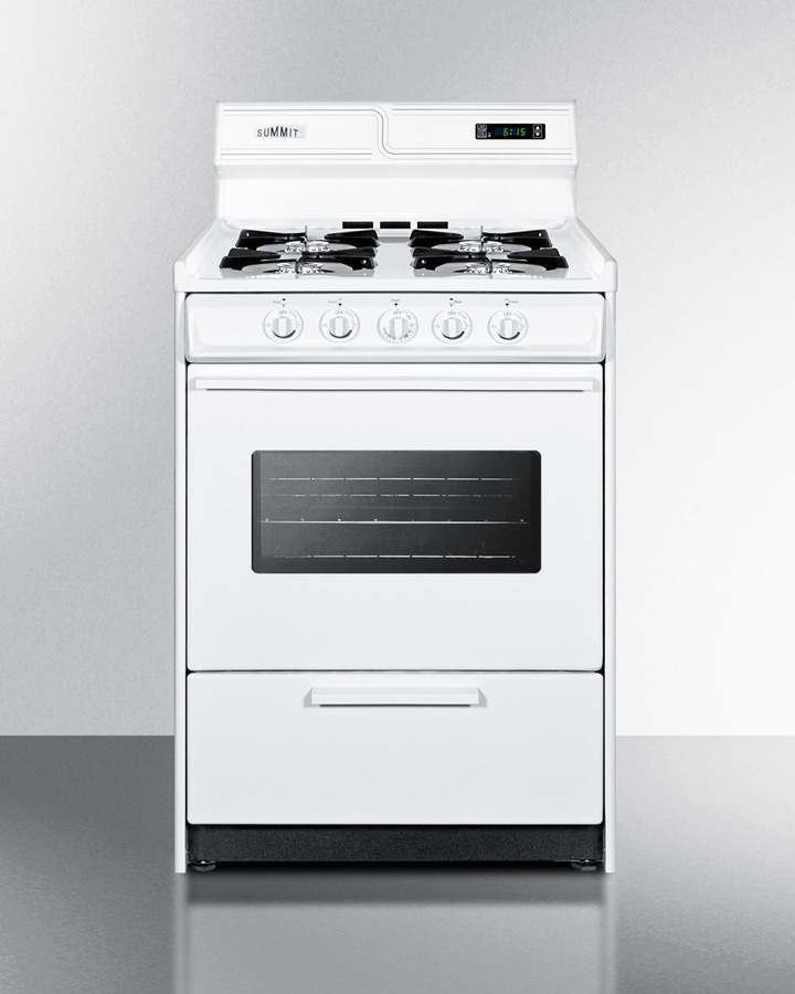 Deluxe gas range in slim 24' width with electronic ignition, digital clock/timer, oven window