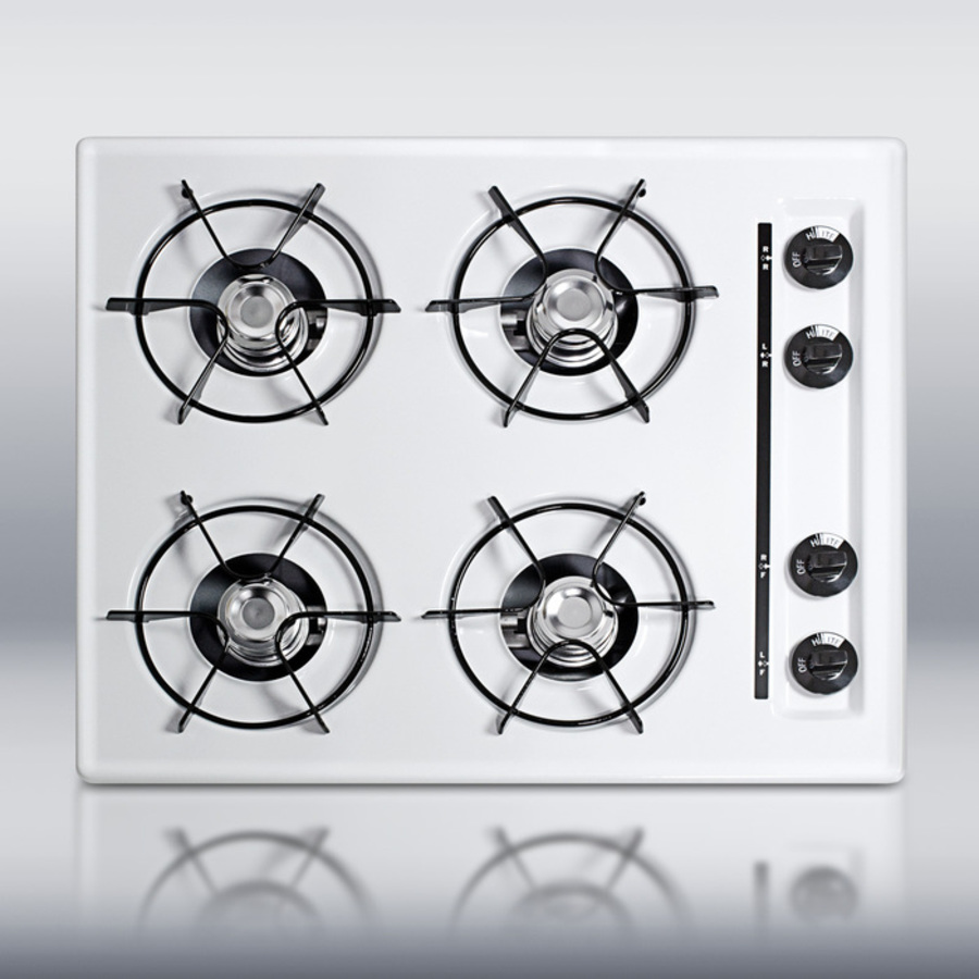 24' wide gas cooktop in white, with four burners and gas spark ignition