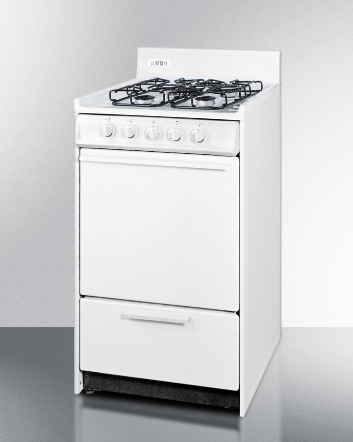 20' wide gas range in white with sealed burners and electronic ignition