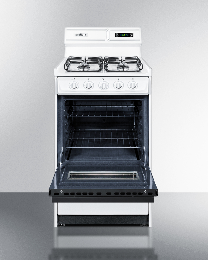 20' wide gas range in white with sealed burners, digital clock/timer, black glass oven door