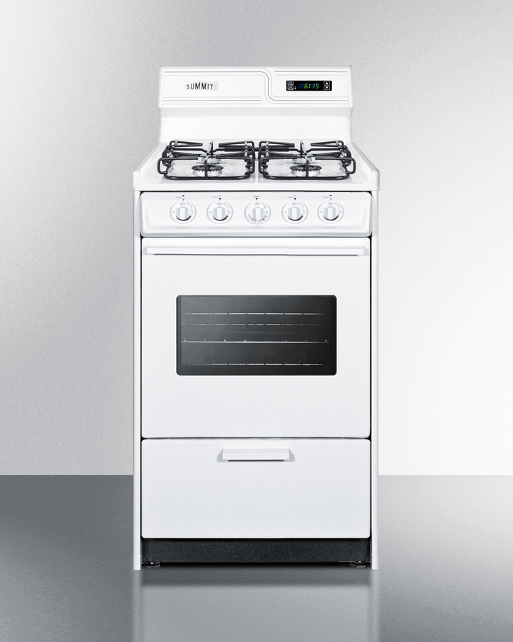 20' wide gas range in white with sealed burners, digital clock/timer, oven window, interior light