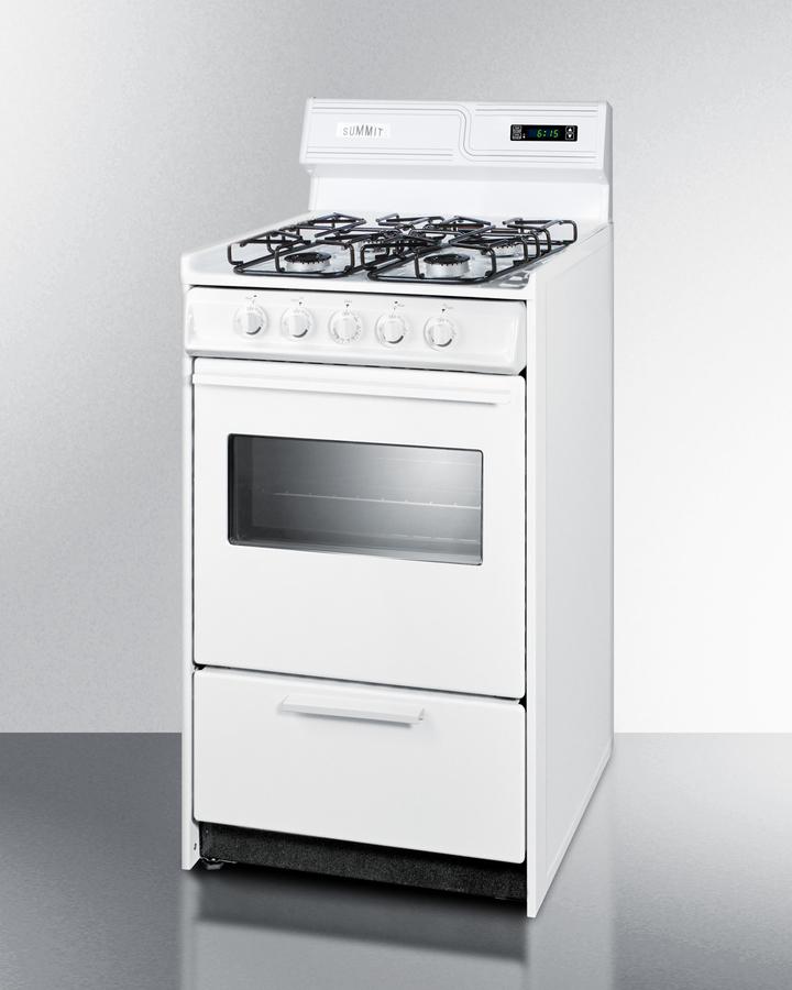 Model: WTM1307KSW | Summit 20' wide gas range in white with sealed burners, digital clock/timer, oven window, interior light