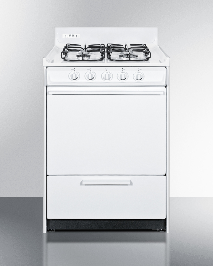 24' wide gas range in white with sealed burners and electronic ignition; replaces WNM6107F