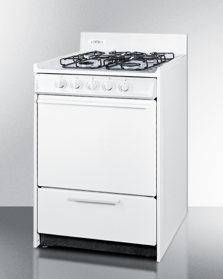 Summit 24' wide gas range in white with sealed burners and electronic ignition; replaces WNM6107F