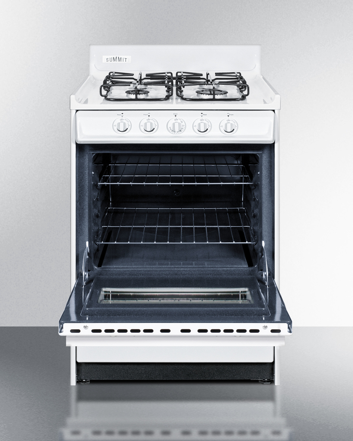 24' wide gas range in white with sealed burners, oven window, interior light