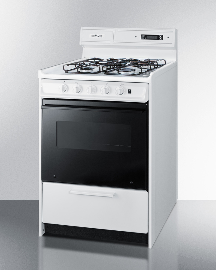 24' wide gas range in white with sealed burners, digital clock/timer, black glass oven door