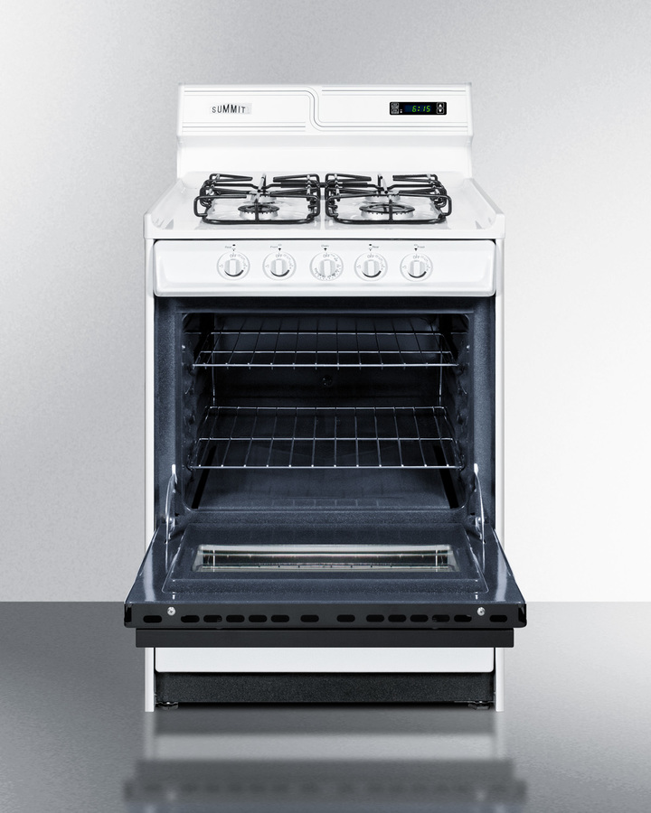 Model: WTM6307DKS   Summit 24' wide gas range in white with sealed burners, digital clock/timer, black glass oven door