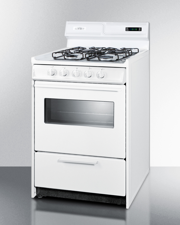 24' wide gas range in white with sealed burners, digital clock/timer, oven window, interior light