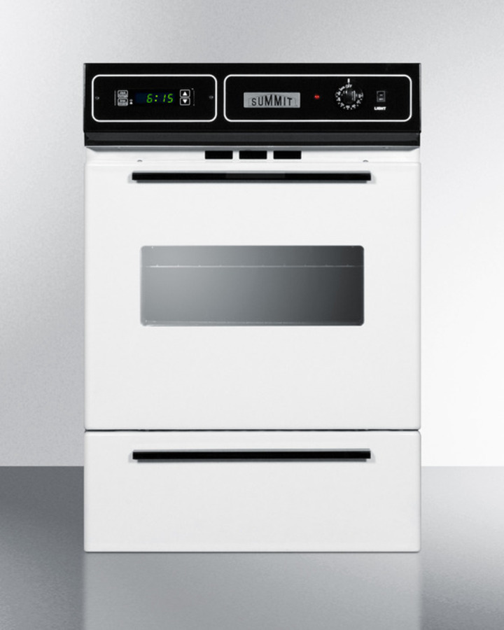 White gas wall oven with electronic ignition, digital clock/timer, and oven window; for cutouts 22 3/8' wide by 34 1/8' high