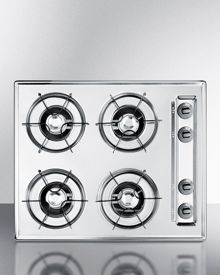 Summit 24' wide gas cooktop in brushed chrome, with four burners and gas spark ignition; replaces ZTL033