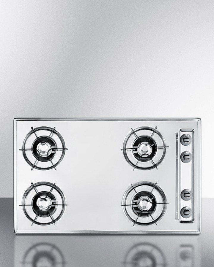 30' wide gas cooktop in brushed chrome, with four burners and gas spark ignition; replaces ZTL053
