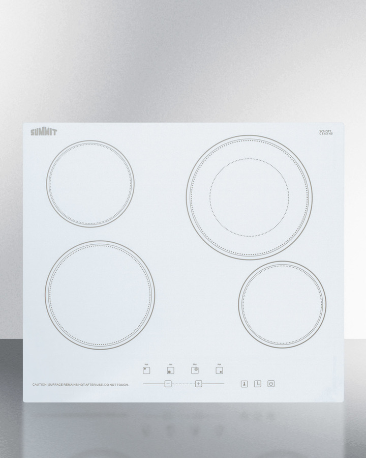 Summit 230V 4-burner cooktop in white ceramic Schott glass with digital touch controls and an extra large 8' dual cooking element