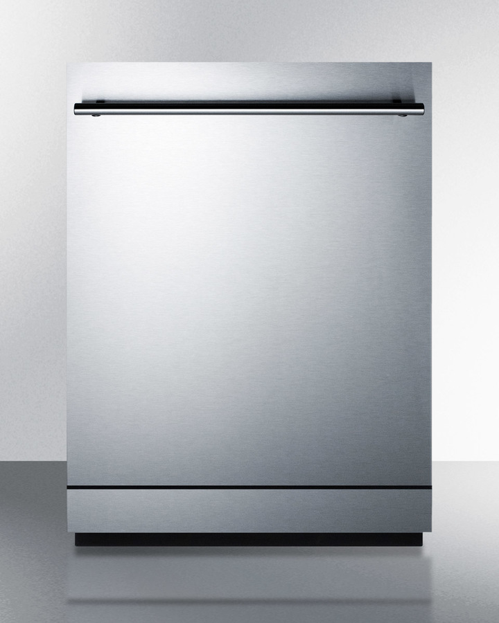 24' wide ENERGY STAR certified dishwasher made in Europe with stainless steel door and top controls