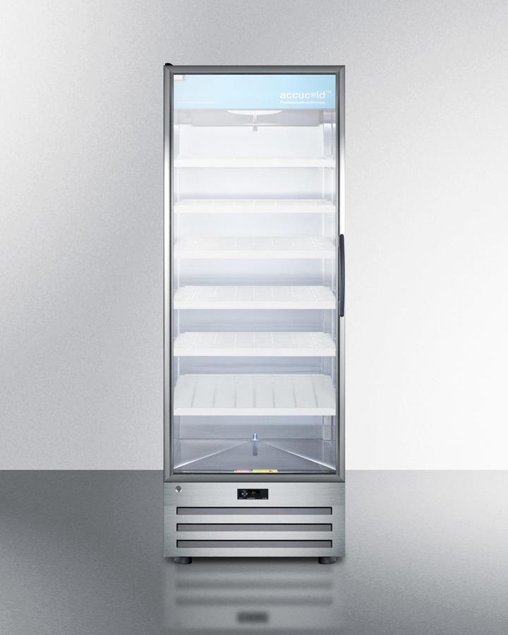 Summit Full-size pharmaceutical all-refrigerator with a glass door (left hand door swing), lock, digital thermostat, and a stainless steel interior and exterior cabinet