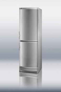 Thin-line top refrigerator with a bottom freezer, cycle defrost, and stainless steel door