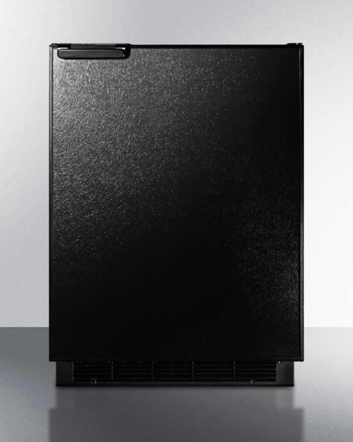 Built-in undercounter refrigerator-freezer with large capacity and manual defrost in black finish
