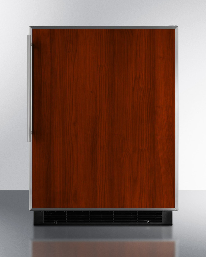 Built-in undercounter refrigerator-freezer in black with manual defrost and stainless steel door frame for custom panels