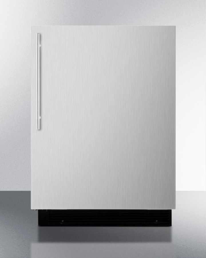 Built-in refrigerator-freezer with manual defrost, black cabinet, and stainless steel door