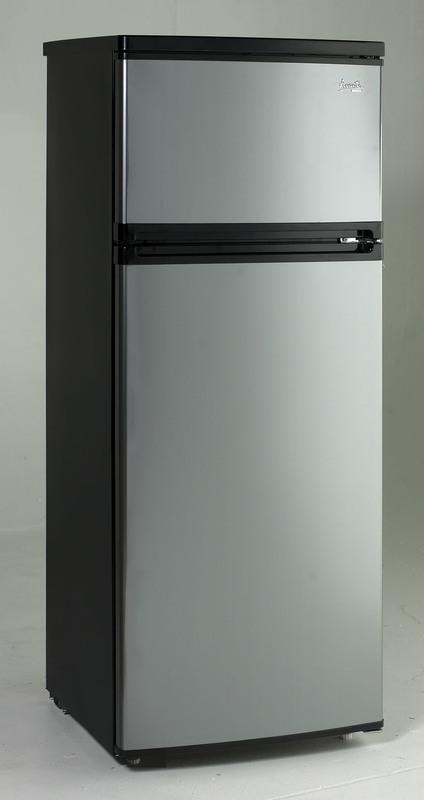 Avanti 7.4 CF Two Door Apartment Size Refrigerator - Black w/Platinum Finish
