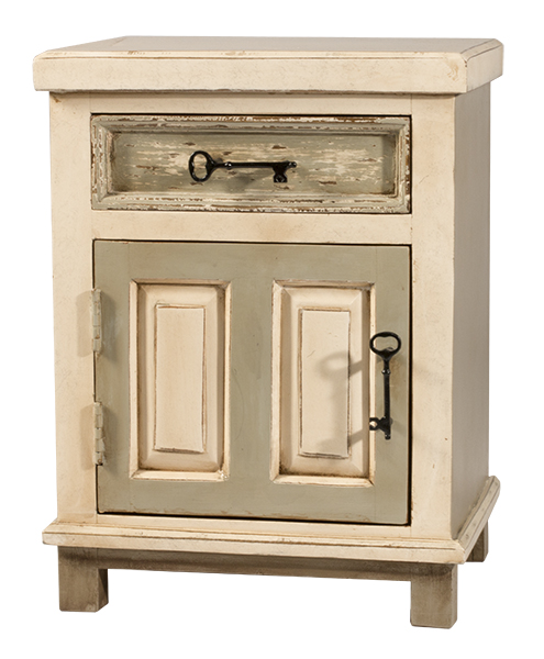 LAROSE SIDE TABLE - RUSTIC WHITE AND GRAY