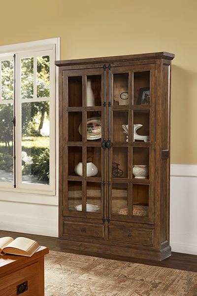 Tuscan Retreat Double Door Cabinet (Glass Front and Two Drawers) - Antique Pine