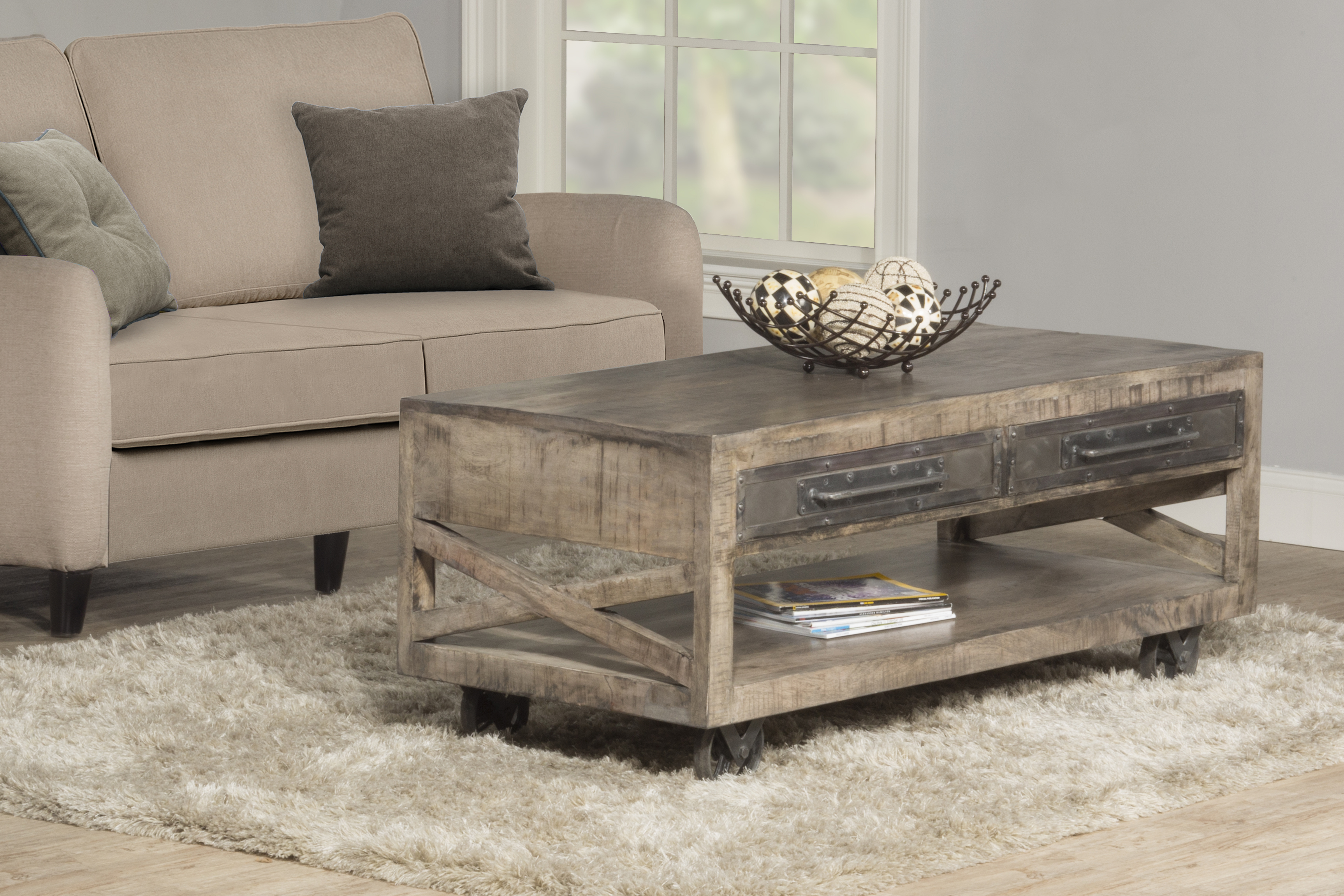 Hillsdale Furniture Bridgewater Coffee Table with Casters - Brushed Tan Wood