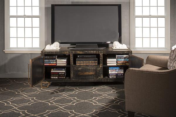 Hillsdale Furniture Bridgewater Entertainment Console - Rubbed Black Wood