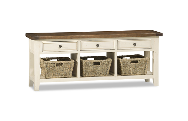 Tuscan Retreat TV Console with Baskets - Country White with Antique Pine Top