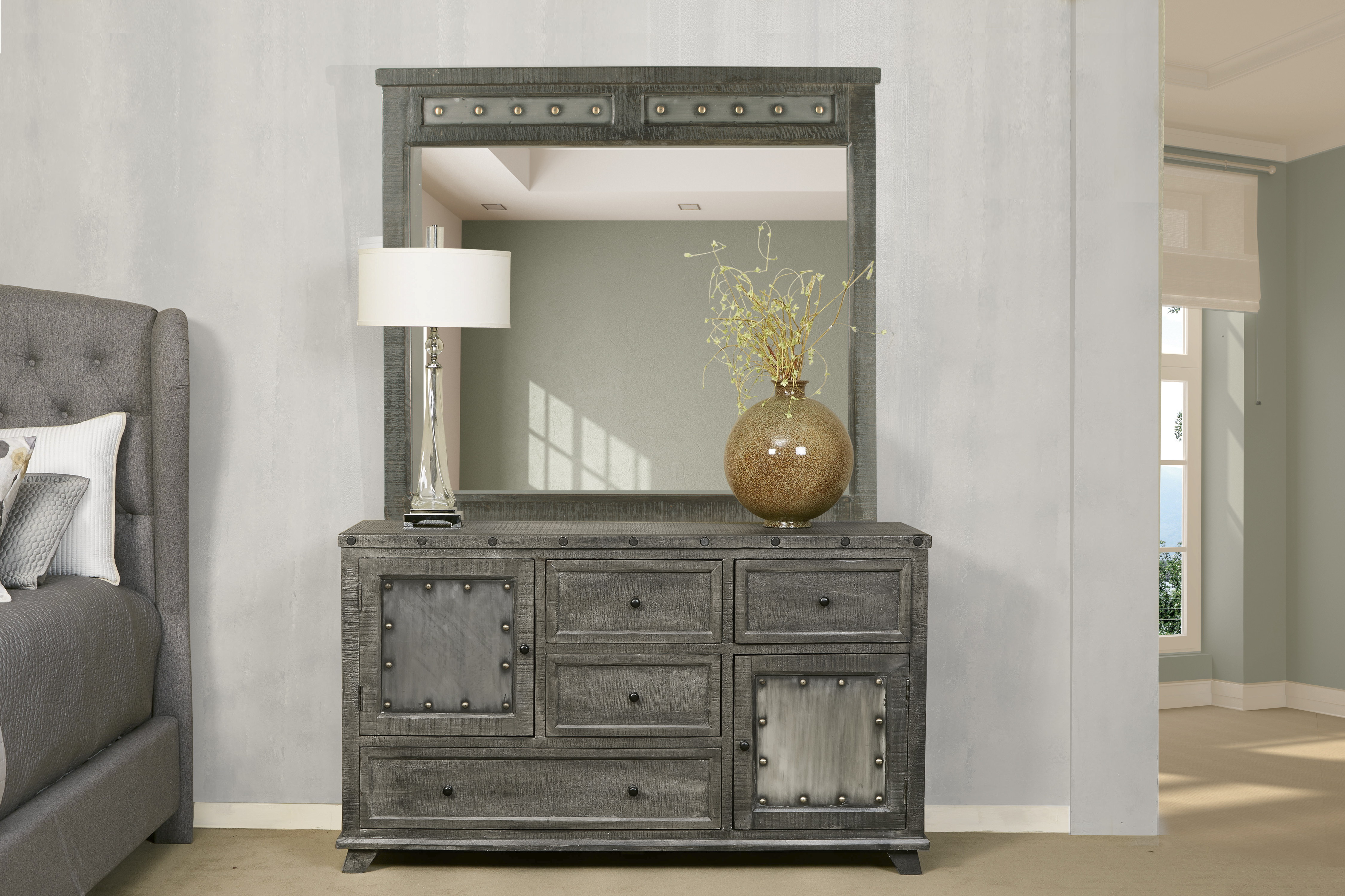 Hillsdale Furniture Bolt Mirror - Light Graywash