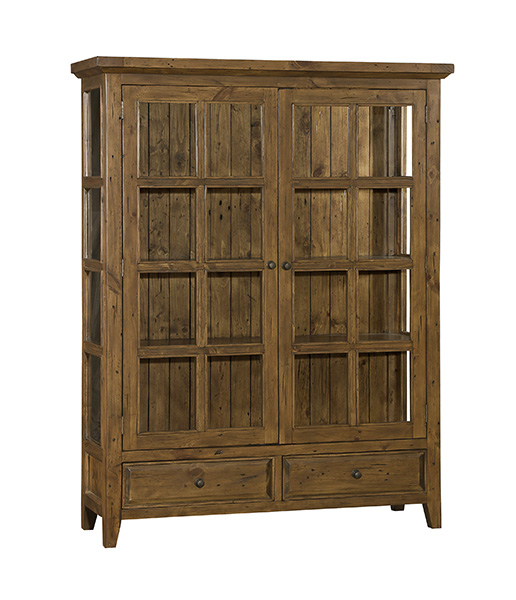 Tuscan Retreat Display Cabinet 2 Doors 2 Drawers with Clear Glass - Antique Pine
