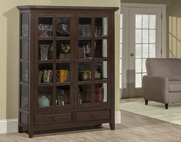 Tuscan Retreat Display Cabinet 2 Doors 2 Drawers with Clear Glass - Rustic Mahogany