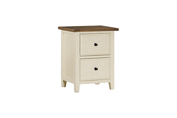 Hillsdale Furniture Tuscan Retreat Small File Cabinet - Country White with Antique Pine Top