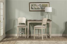 Hillsdale Furniture Clarion 3-Piece Counter Height Side Dining Set with Open Back Stools - Distressed Gray Top with Sea